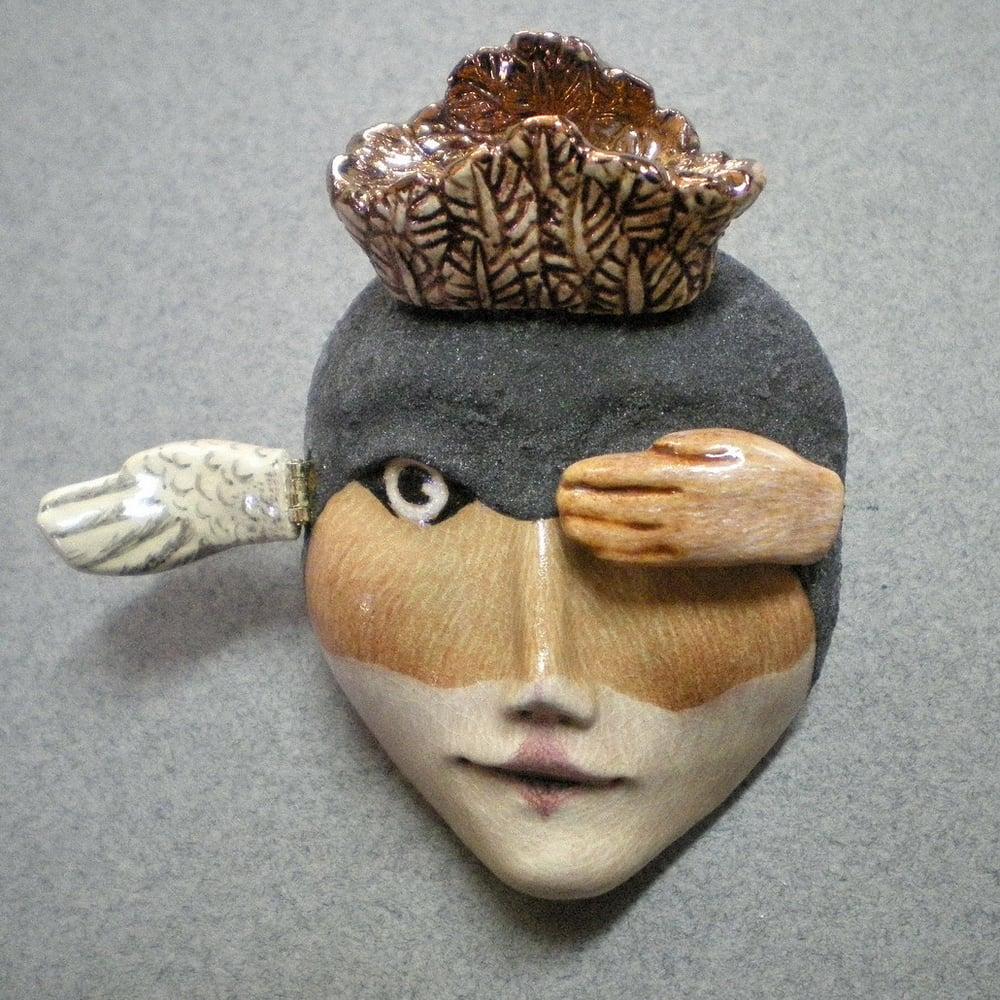 Image of Spread Your Wings - Bird Face Mask Sculpture, Ceramic Face Pendant, Original Mask Art