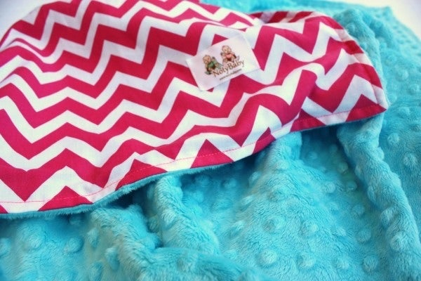 Image of LOVEY/ BABY/ TODDLER/ TEEN BLANKET - LARGE HOT PINK CHEVRON WITH TURQUOISE MINKY