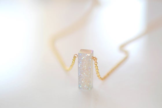 Image of Sparkling White Druzy Necklace - Rectangle Druzy Necklace