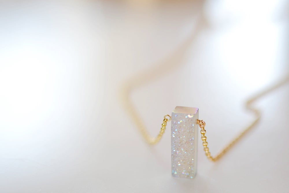 Image of Sparkling White Druzy Necklace - Rectangle Druzy Necklace