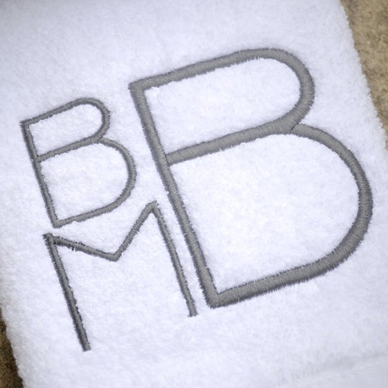 Image of Custom Modern Stacked Monogram Bath Towels