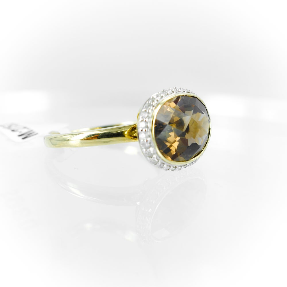 Image of Smokey Quartz and diamond dress ring