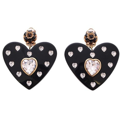 Image of SOLD OUT AUTHENTIC Dolce & Gabbana Authentic Jumbo Signed Runway Heart Earrings