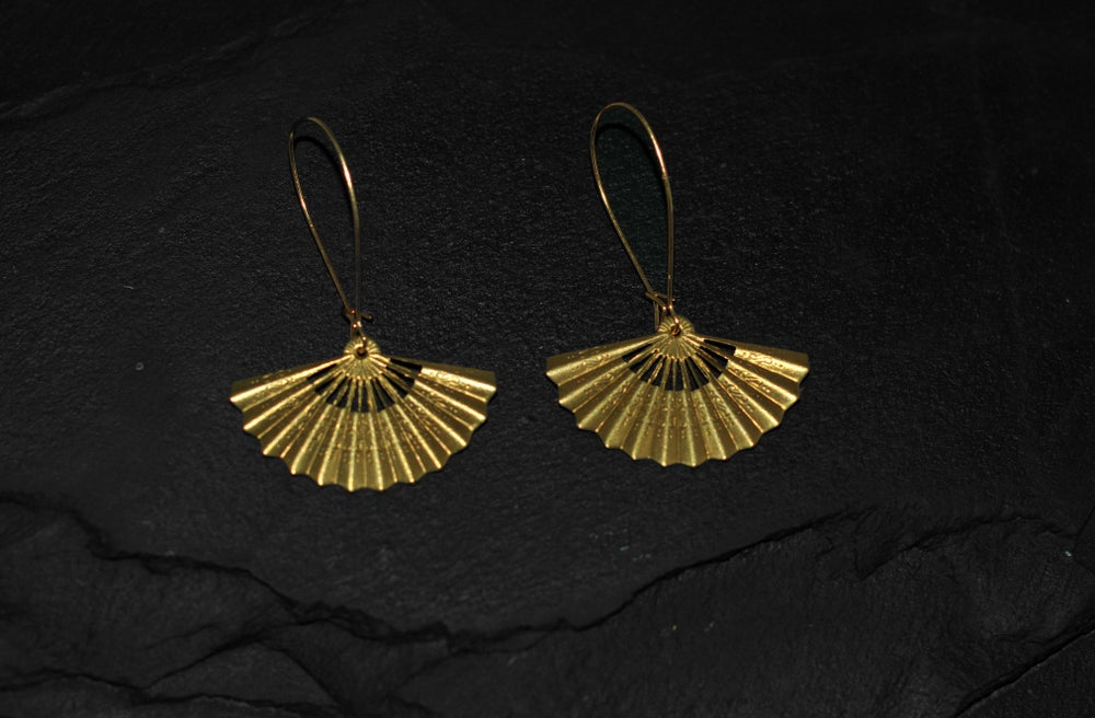 Image of Pair of small fan earrings in brass