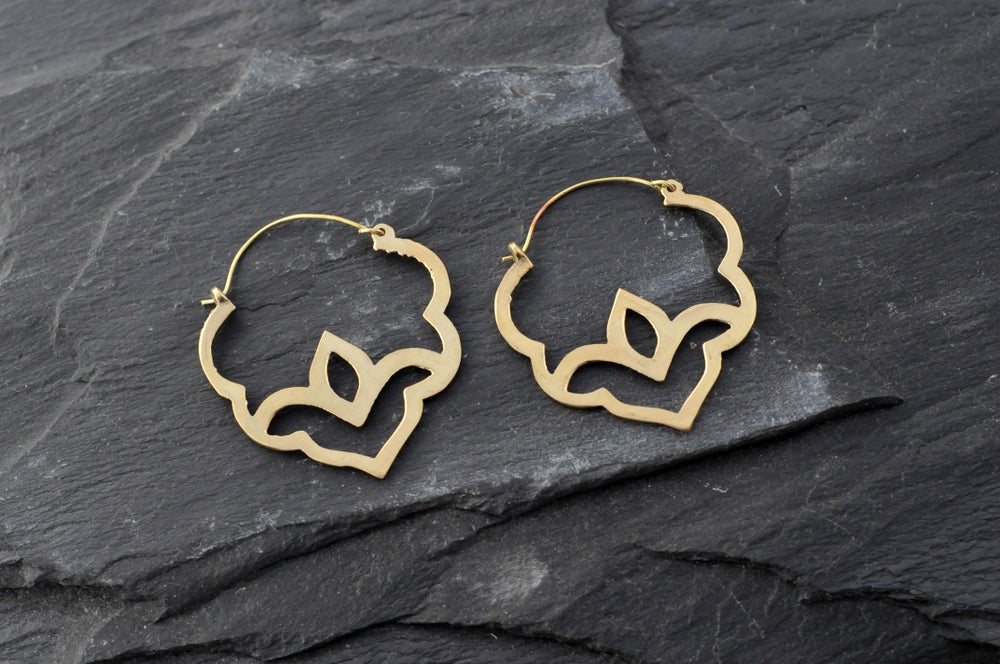 Image of Pair of lotus flower earrings in brass
