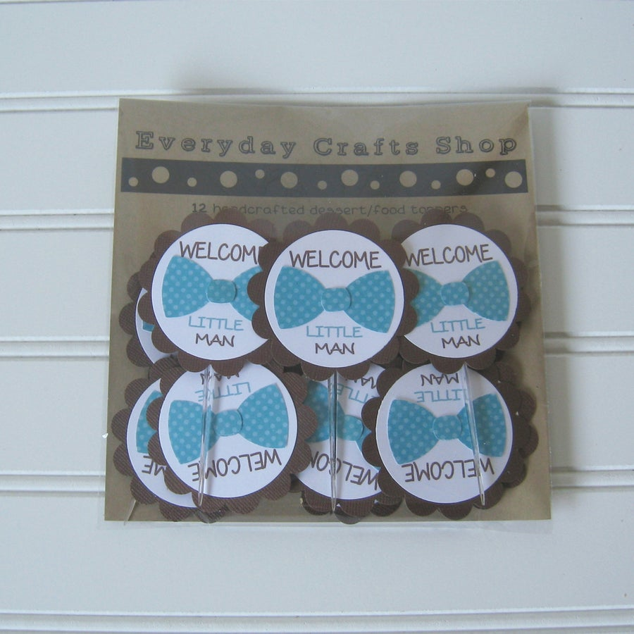 Image of Welcome Little Man Bowtie toppers - Set of 12