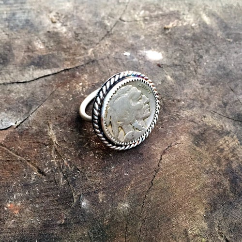 Image of 1923 BUFFALO HEAD NICKEL SILVER RING