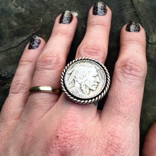 Image of 1927 BUFFALO HEAD NICKEL SILVER RING