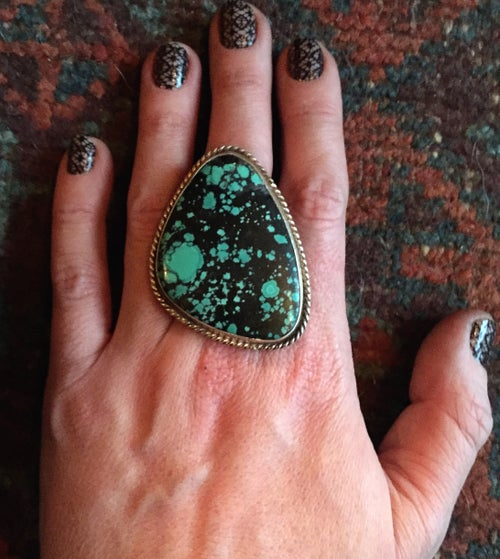 Image of TURQUOISE & SILVER X-LARGE RING