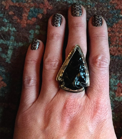 Image of OBSIDIAN ARROWHEAD & SILVER RING