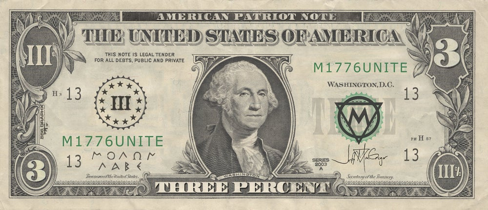 Image of (III%) The Patriot Note Sticker