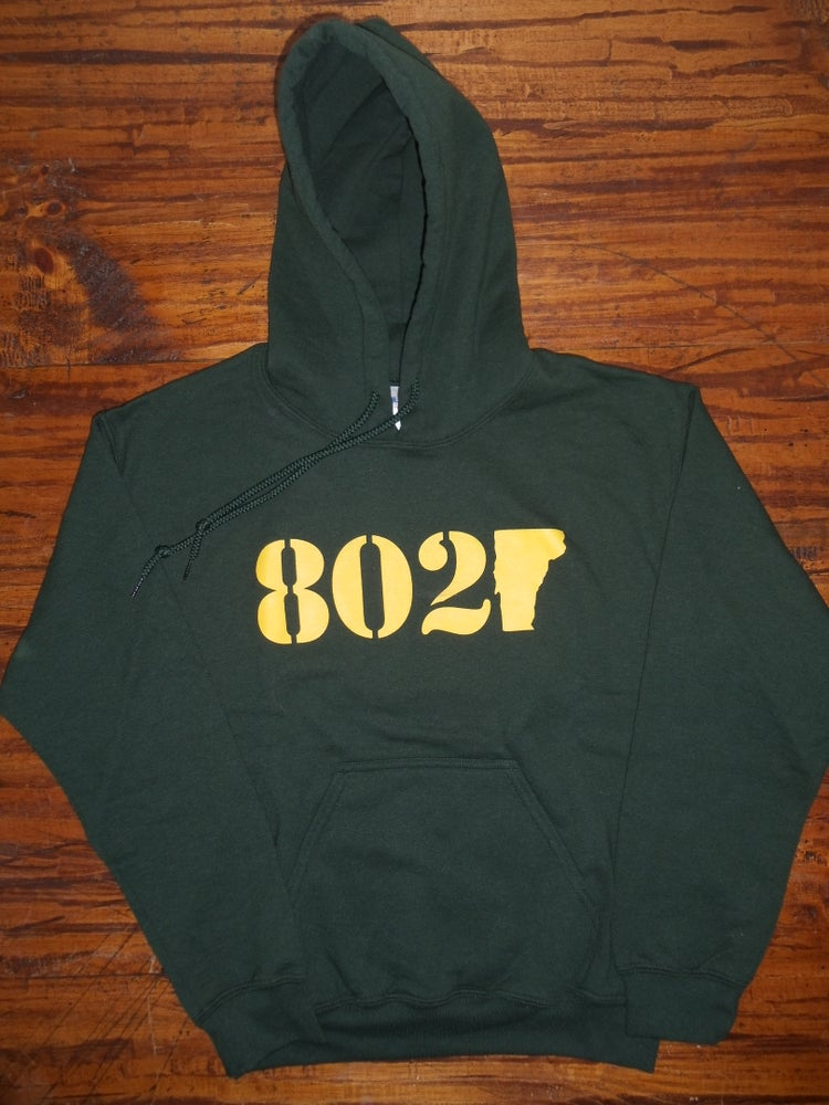 Image of 802 Classic Vermont Hooded Sweatshirt - Gold logo on Green Hoodie - Available in Kids & Adult Sizes