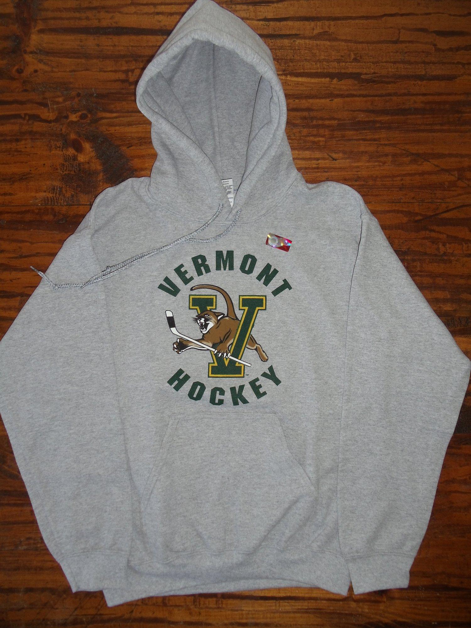 Image of Univeristy of Vermont (UVM) Hockey VCAT Hooded Sweatshirt - Ash Grey