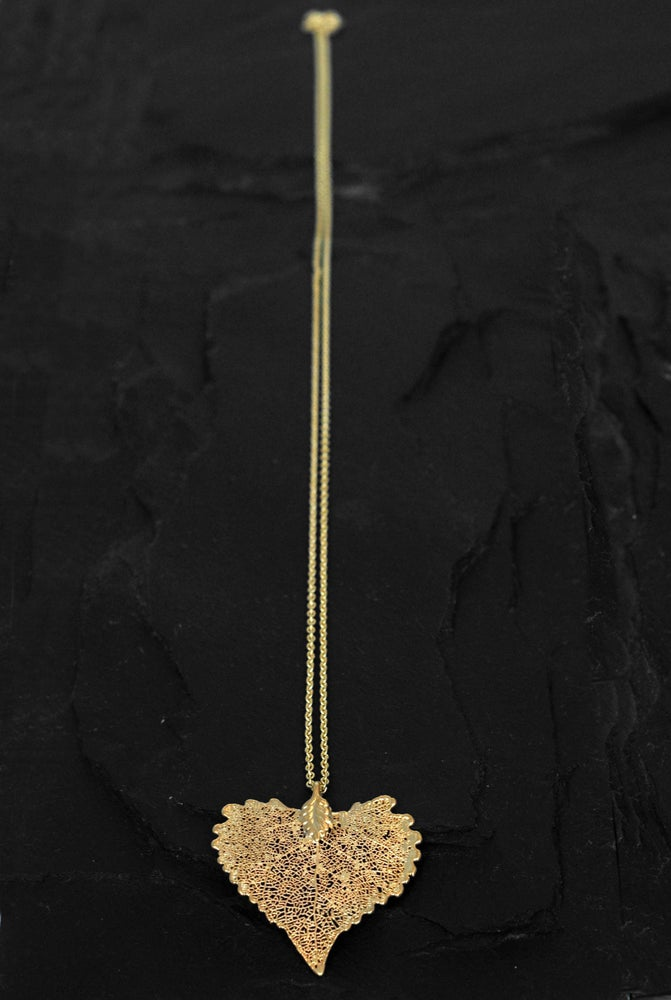 Image of Dipped cottonwood leaf necklace in silver plated brass