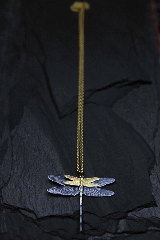 Image of Doublefly necklace in silver plated brass