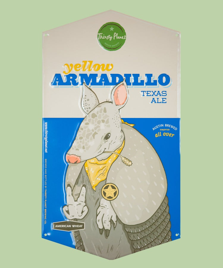 Image of Yellow Armadillo Tin Sign