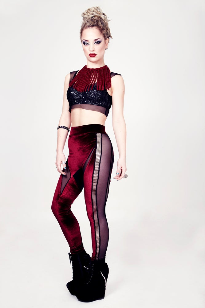 Image of DRACUL PANELLED LEGGINGS IN BLOOD VELVET