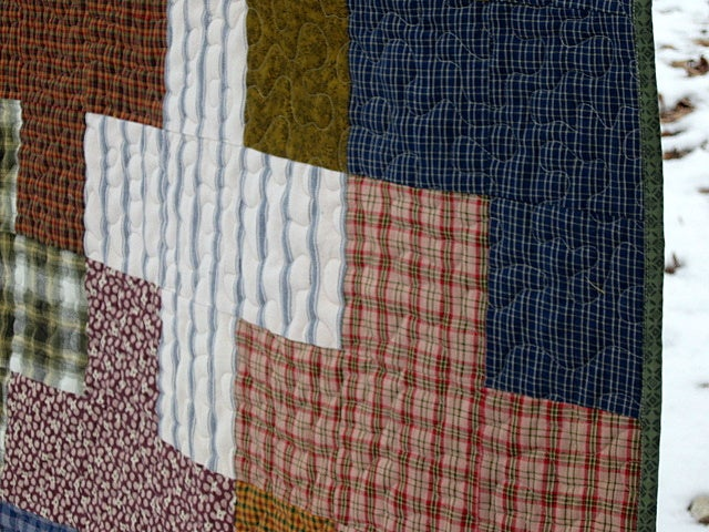 "Image of old + new quilt, nap size quilt, 72"" x 59"", picnic quilt, bed throw,"