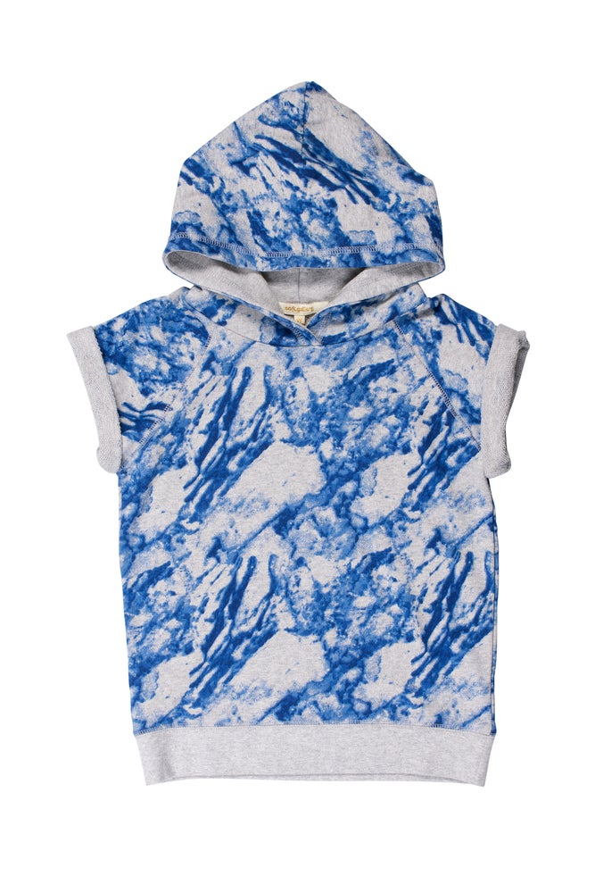 Image of SS15 <> Sweat capuche manches courtes garçon Soft Gallery « Patrick Marble Blue » <> 4A-10A