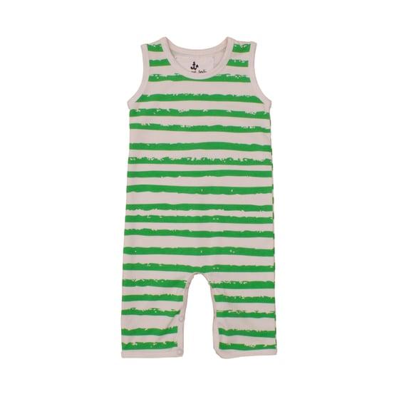 Image of SS15 <> Jumpsuit combinaison sans manches bébé garçon Noé&Zoé à rayures vertes <> 3M-18M