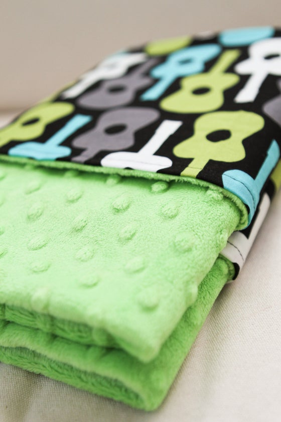 Image of LOVEY/ BABY/ TODDLER/ TEEN BLANKET - LAGOON GROOVY GUITARS WITH LIME MINKY