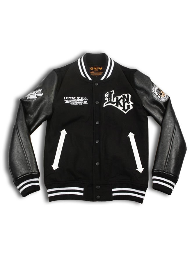 Image of 'Rebellious LKNG' Script Logo Black Letterman Jacket