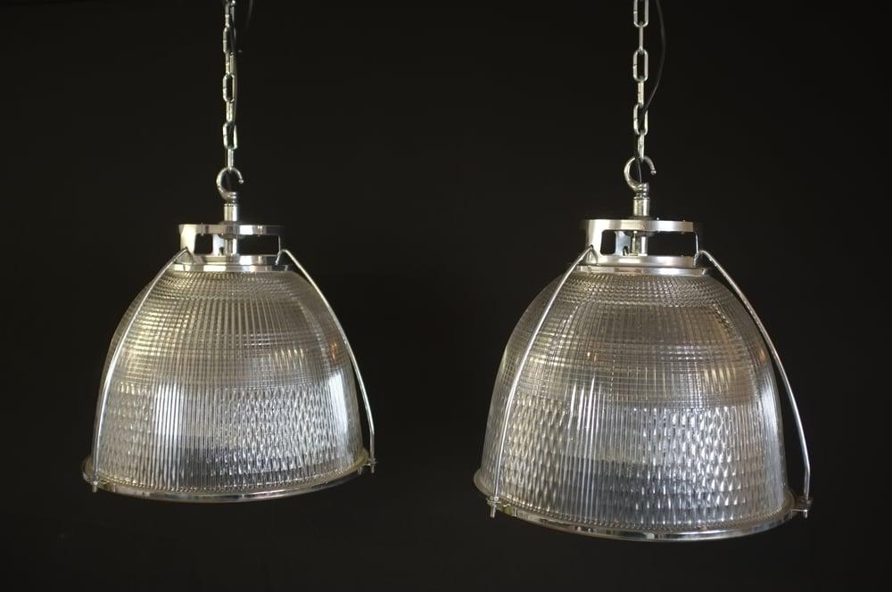 Image of Vintage Industrial Holophane Pendant Light #1