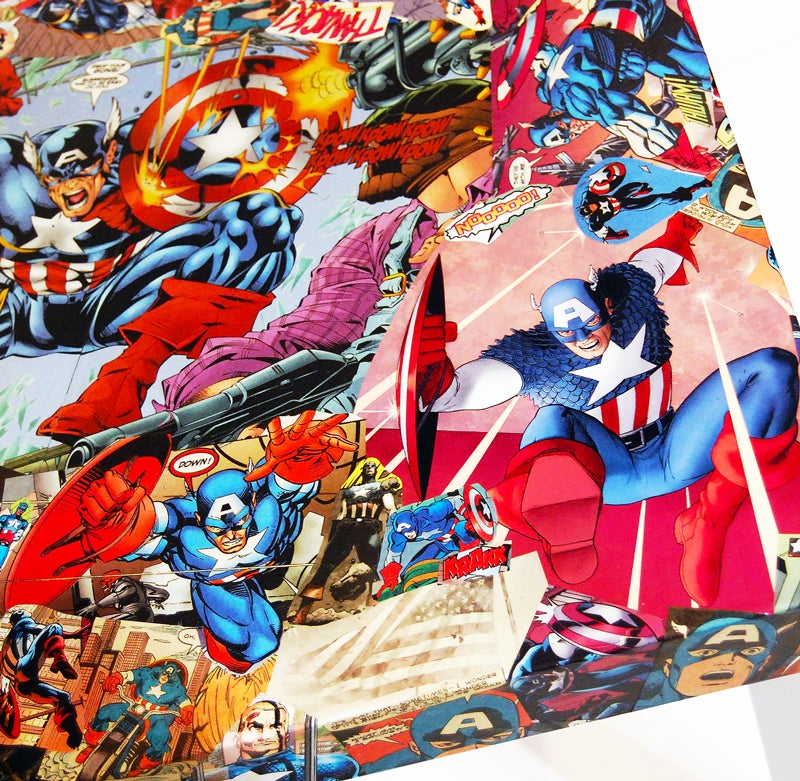 Image of Captain America Comic Collage Table