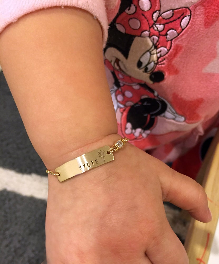 Image of Baby Bar Bracelet , Nameplate Bracelet , Toddler Nameplate Bracelet - Children's Bracelet - Gift