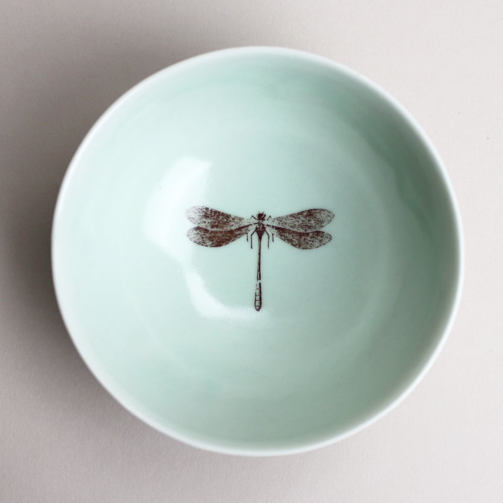 Image of roly poly bowl with dragonfly, aqua