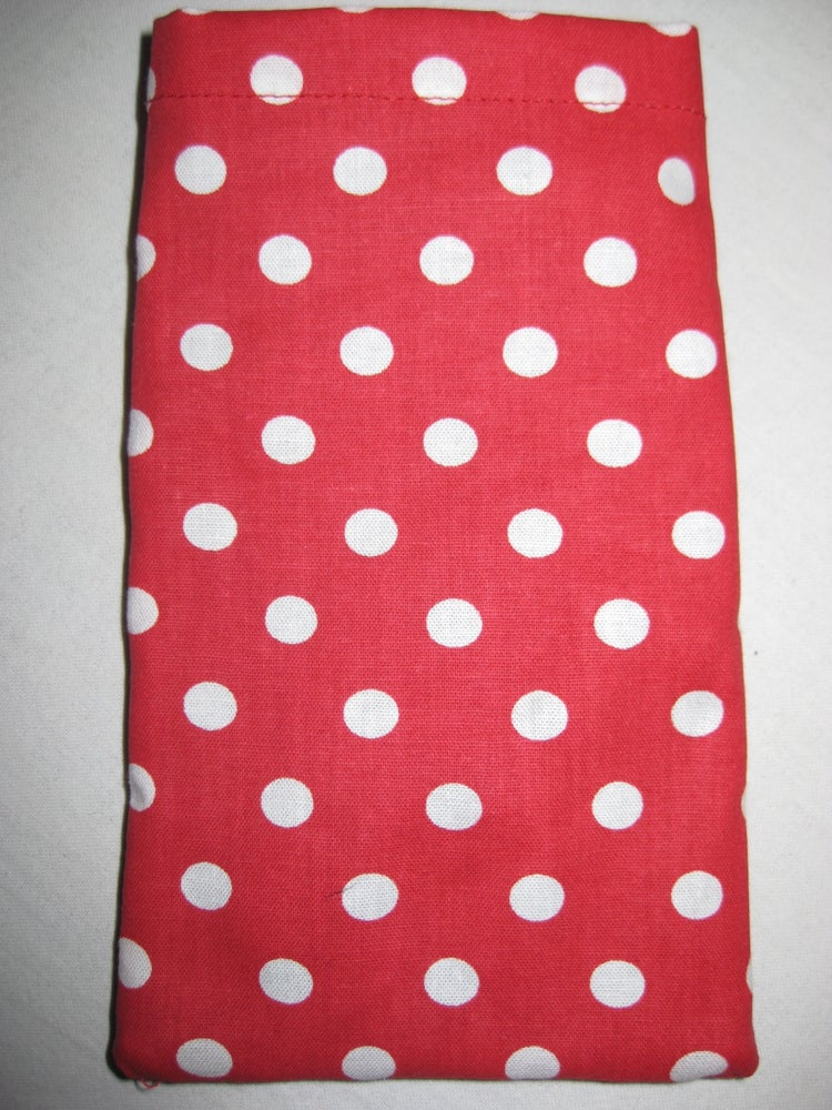 Image of Red Polkadot Protective Phone Pouch