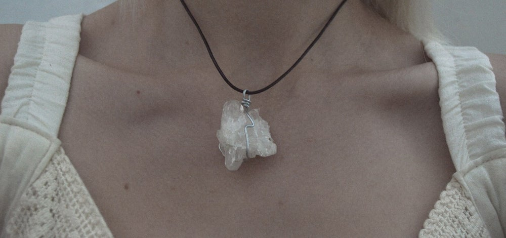Image of Clear quartz druze necklace