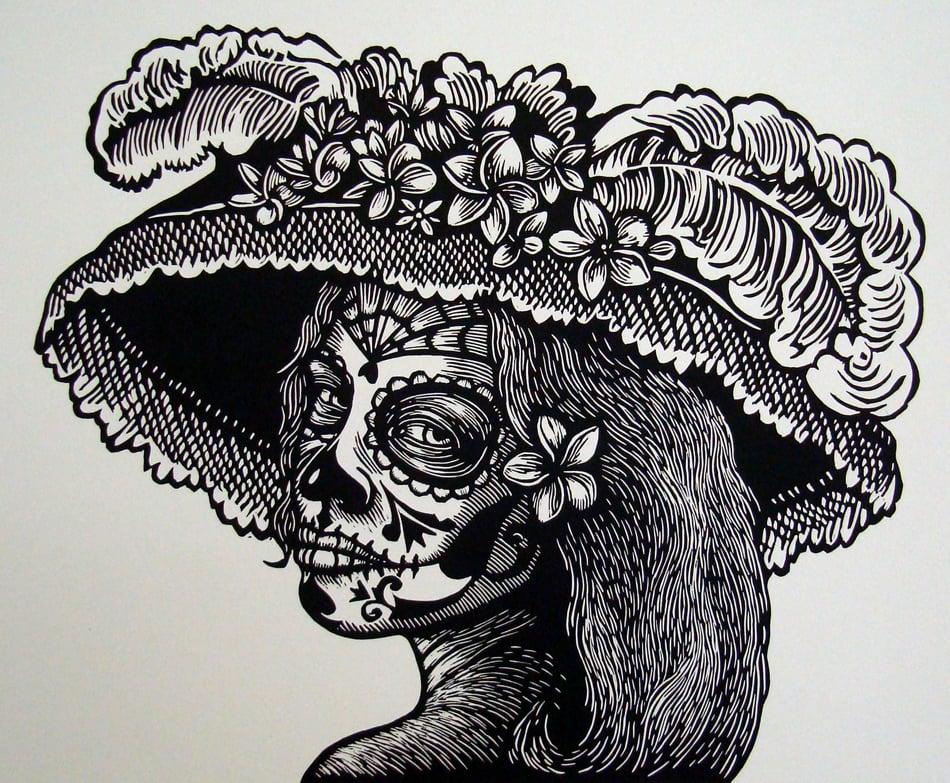 "Image of ""Catrina con Sacuanjoches"" Linocut Print"