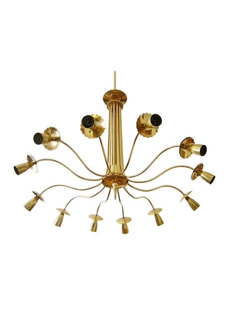 Image of Impressive European Brass Chandelier in the Style of Stilnovo