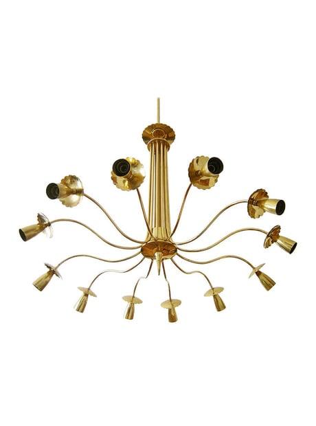 Image of Impressive European Brass Chandelier in the Style of Stilnovo