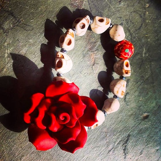 Image of Dia De Los Muertos Howlite Sugar Skulls and Pyrite with Red Rose and Sunflower Bead