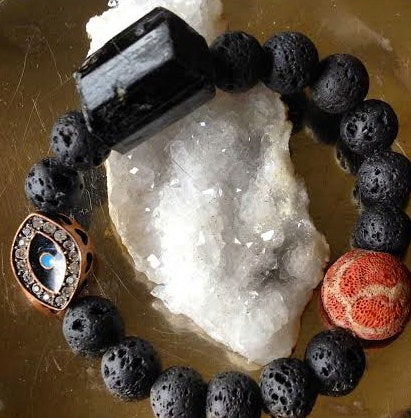 Image of Protection and Grounding Evil Eye Talisman, Volcanic Rock, Raw Tourmaline, Raw Tribal Coral