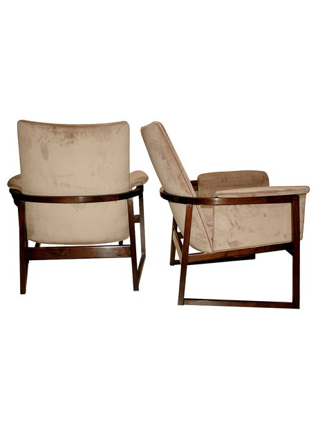 Image of Pair of curved back Milo Baughman Chairs