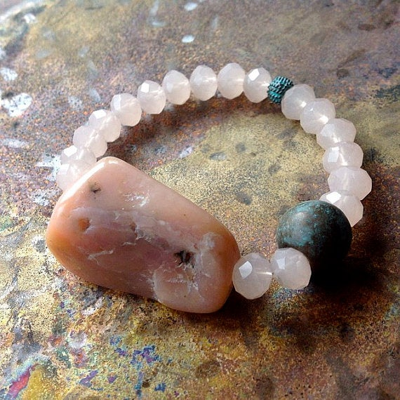 Image of Pink Peruvian Opal with Crystal Quartz and Antique Patina Beads