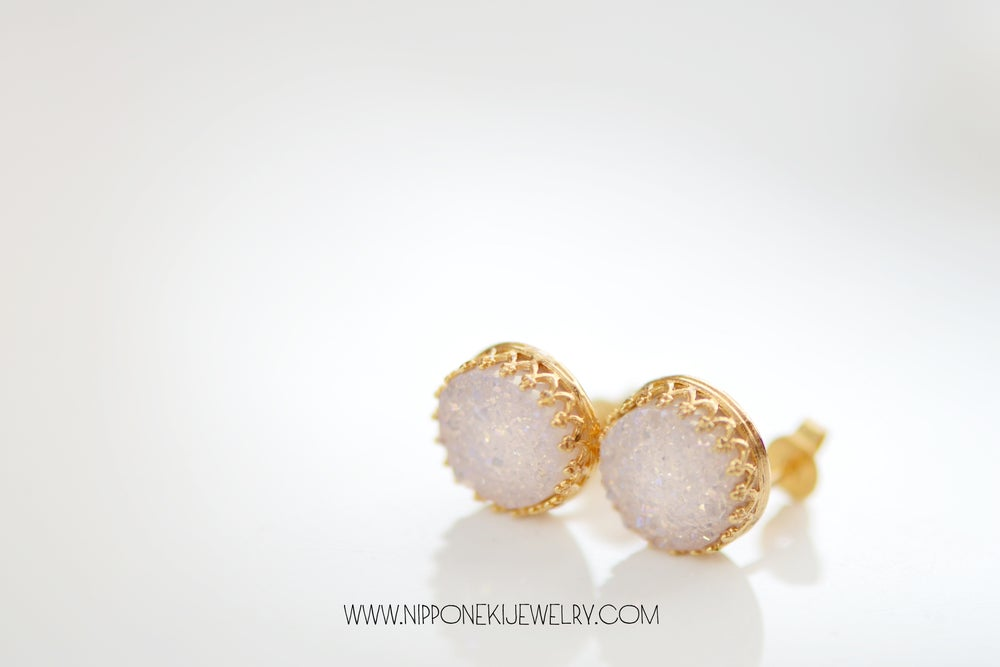 Image of Sparkling White Druzy Studs in Yellow Gold - Crown Bezel Studs -10mm Druzy Studs