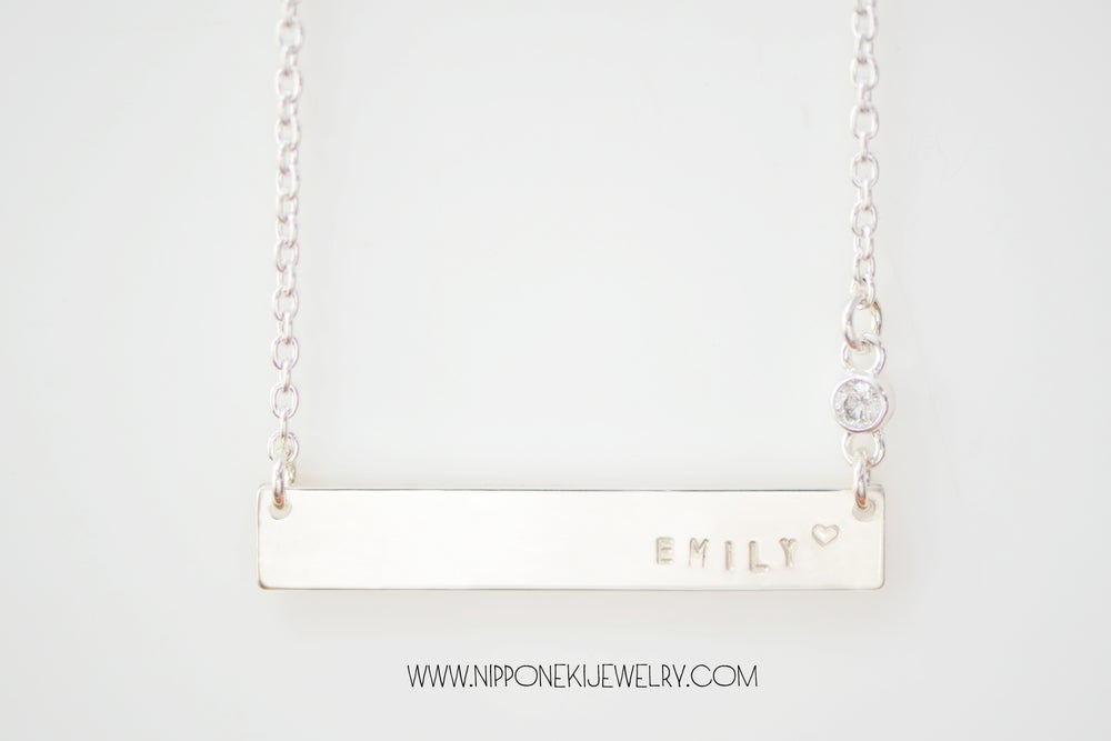 Image of Sterling Silver - Gold Bar Necklace with Cubic Zirconia - Heavy Bar Necklace -  Nameplate Necklace
