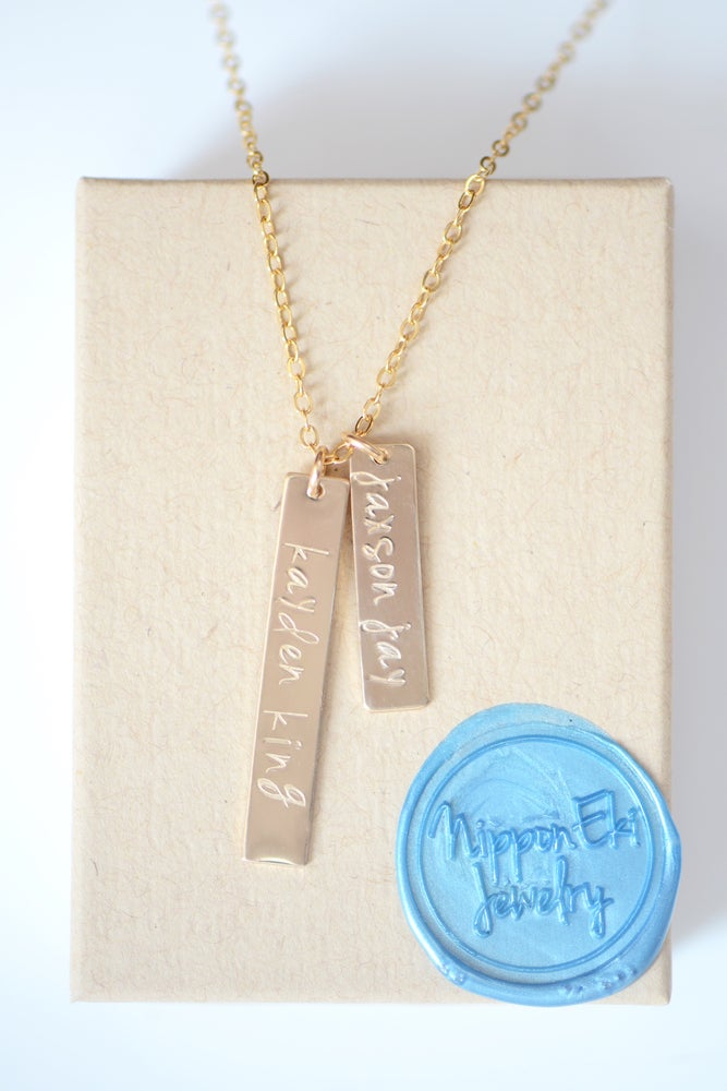 Image of Double Vertical Bar Necklace - NamePlate Necklace - Custom Necklace -