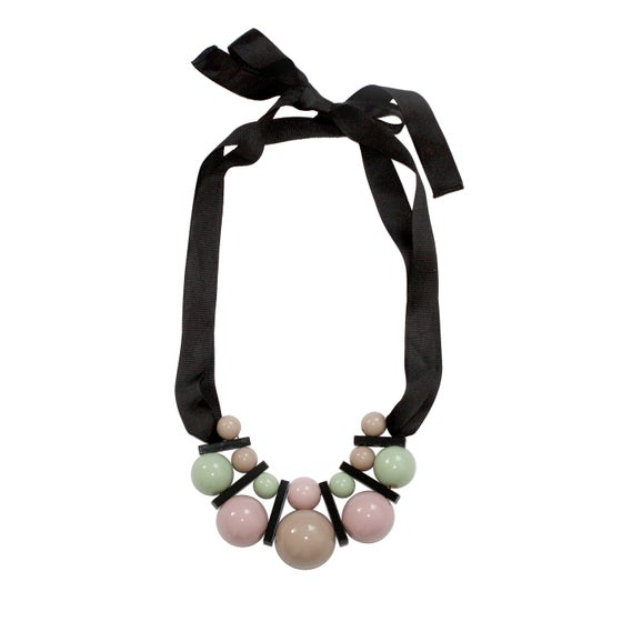 Image of Large celadon&beige necklace