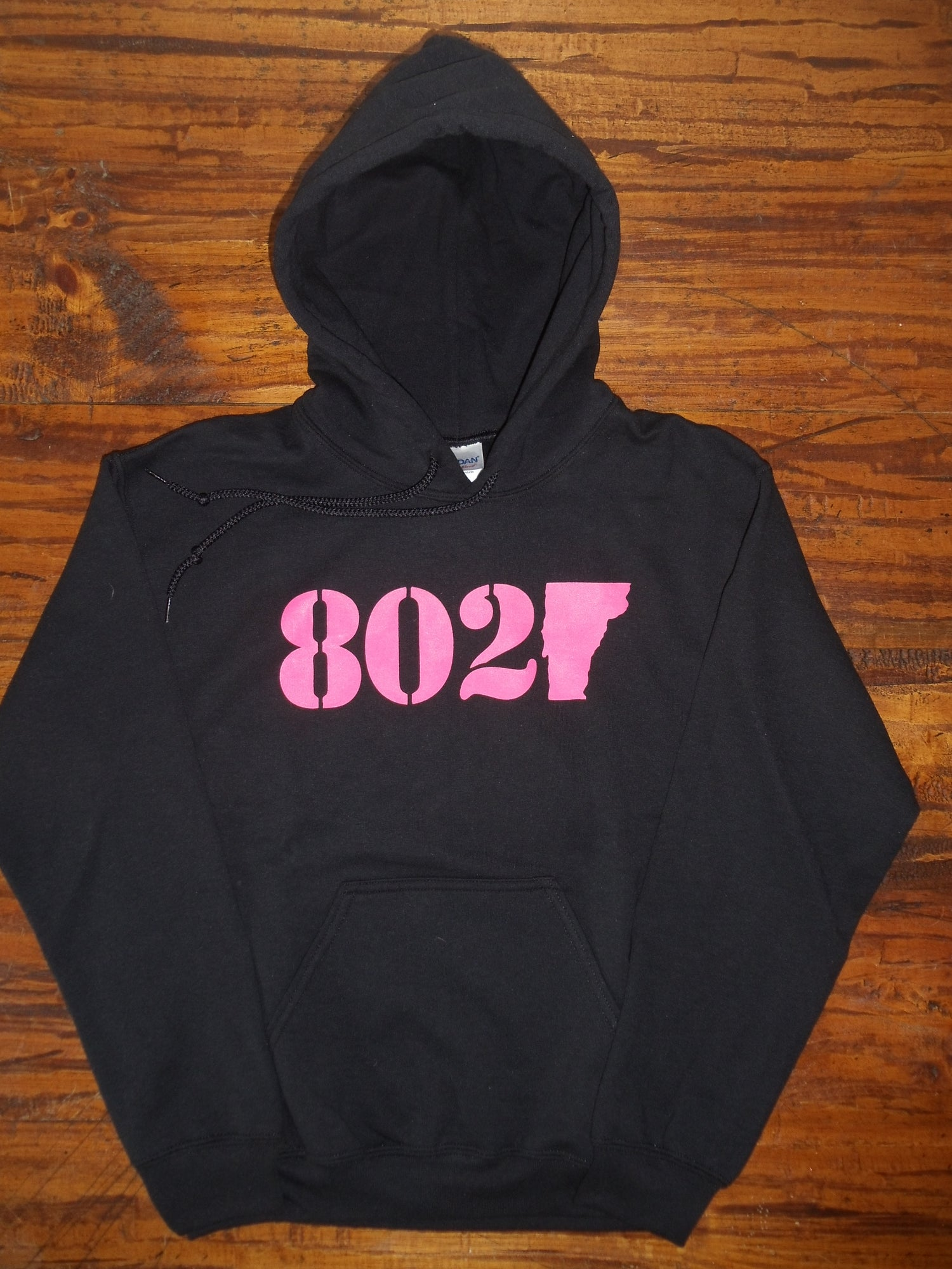 Image of 802 Classic Vermont Hooded Sweatshirt - Neon Pink logo on Black Hoodie