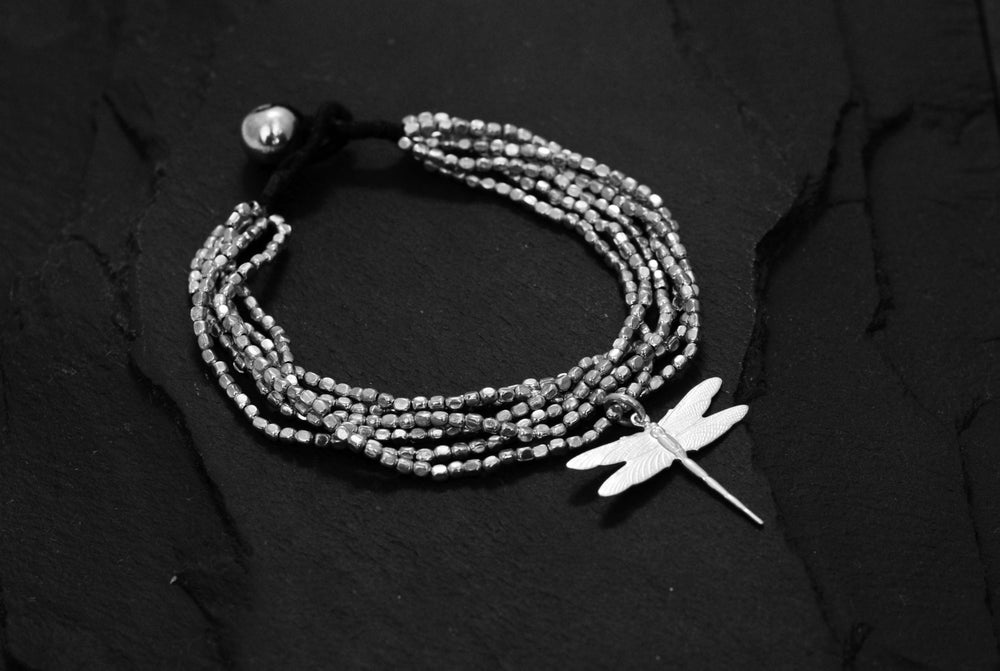Image of Hammered bracelet 6 rows black oxide with dragonfly silver