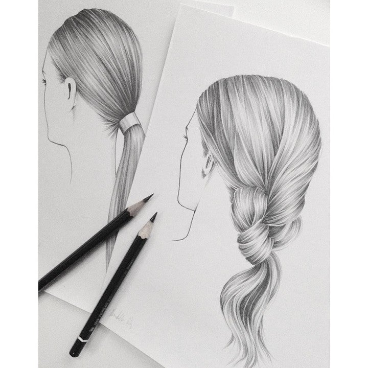 Image of Hair Illustration no.2 Original A5