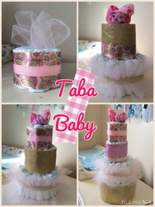 Image of Pink and Gold Diaper Cake