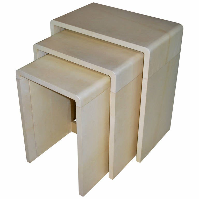 Image of Parchment nesting tables, manner of Karl Springer