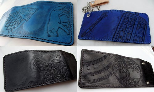 Image of Custom Hand Tooled Leather trifold Wallet. Your image/design or idea. Chain Wallet. Biker Wallet.