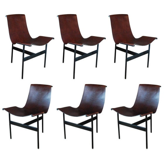 Image of Set of six leather Katavalos T-chairs for Laverne, Inc.